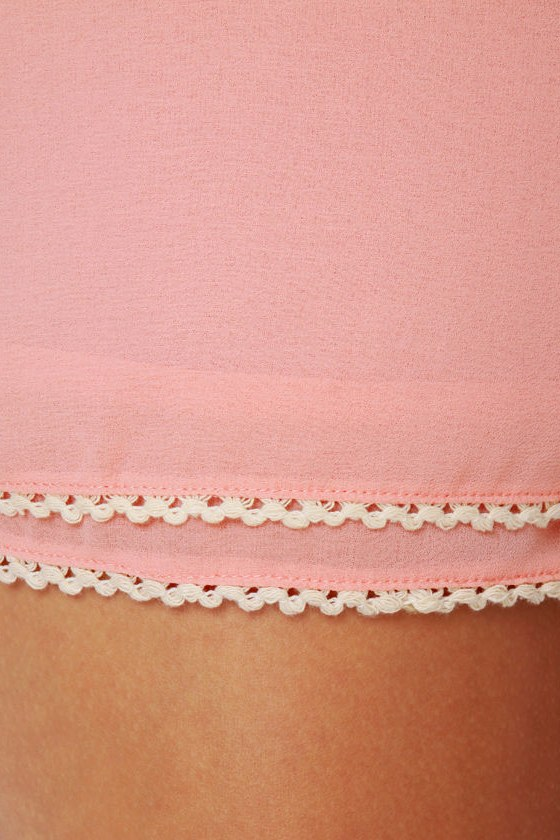 Susie Cutie Peach High-Waisted Shorts
