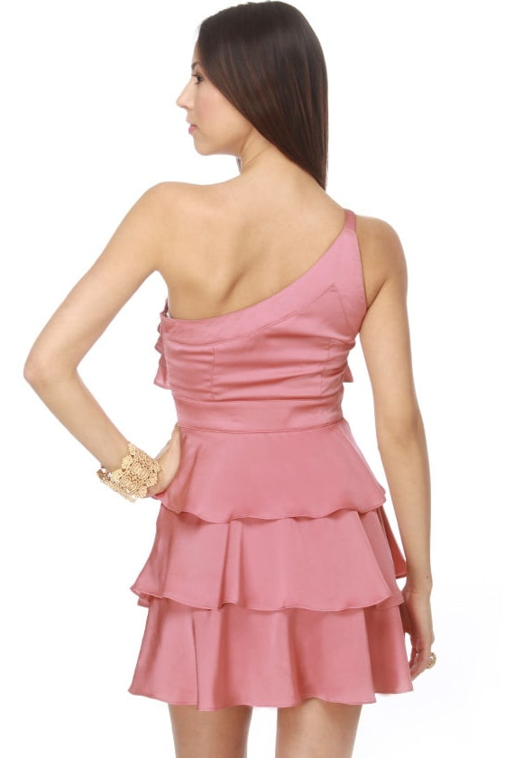 Belle Boutonnière One Shoulder Pink Dress