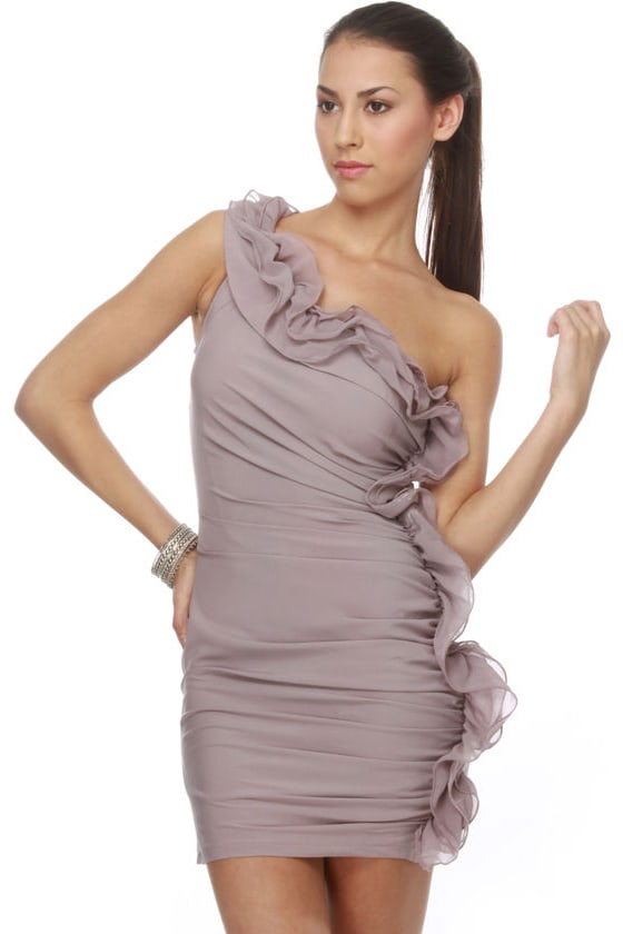Lavender Soufflé One Shoulder Purple Dress