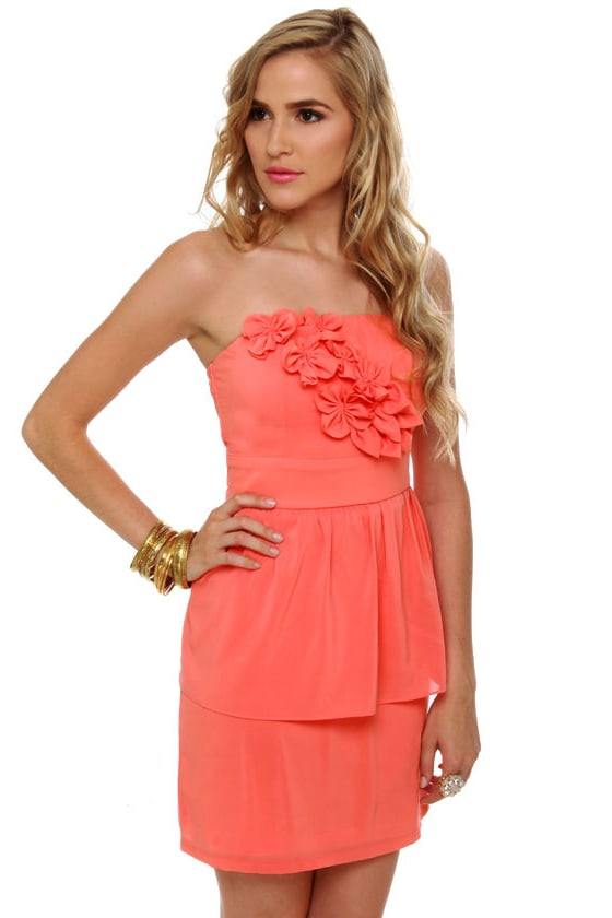 Par for the Corsage Strapless Coral Dress
