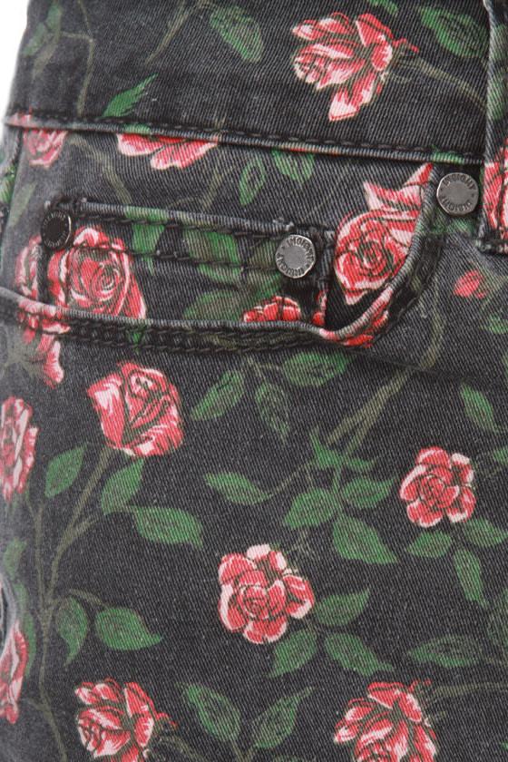 Insight Arosed Floral Denim Shorts