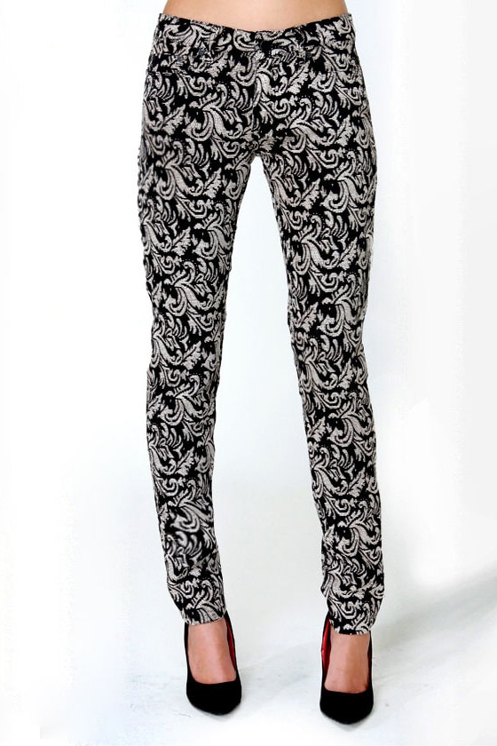 Insight Beanpole Jacquard Mid-Rise Skinny Pants at Lulus.com!