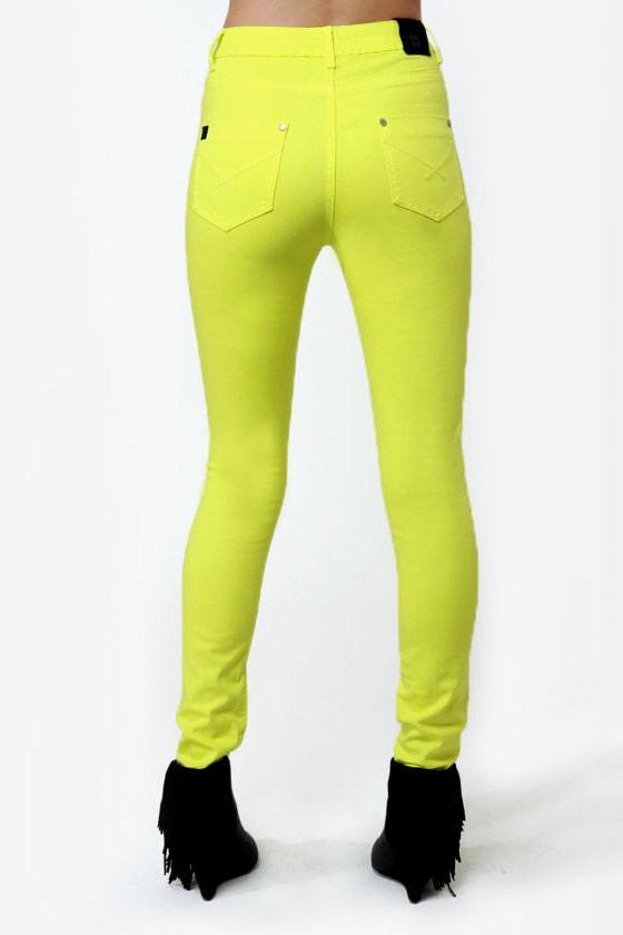 Insight High \\\\\\\\\\\\\\\'n\\\\\\\\\\\\\\\' Mighty Neon Yellow High Rise Skinny Jeans
