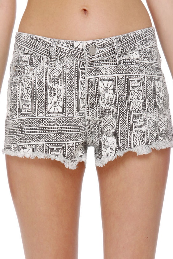 Insight Tribal Grunge Low Rider Print Shorts
