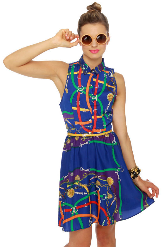 Runaway Chain Blue Print Dress at Lulus.com!