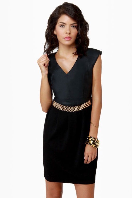 Here Noir There Black Belted Dress