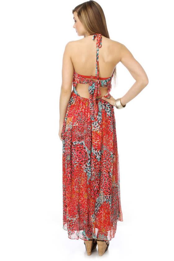 Shanti Bloom Red Maxi Dress