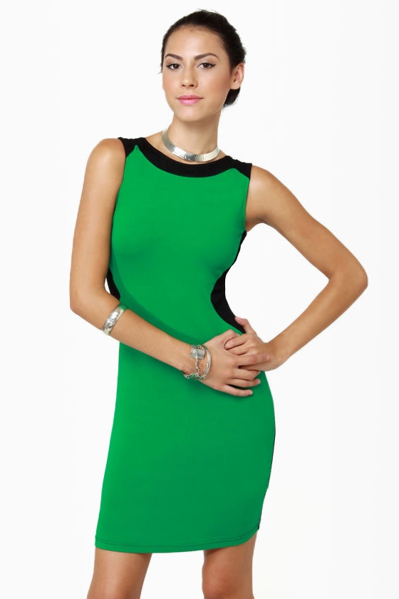 Meet Me in Miami Black and Green Dress at Lulus.com!