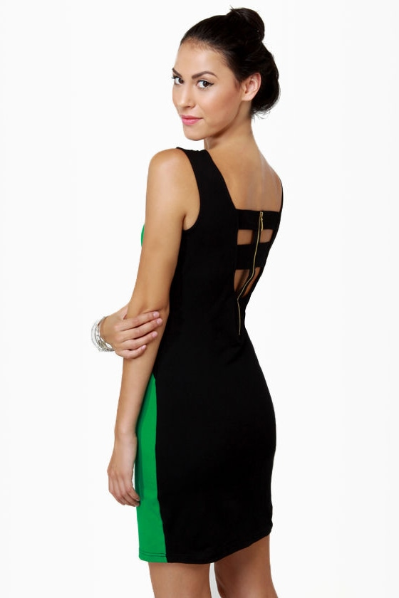 Meet Me in Miami Black and Green Dress