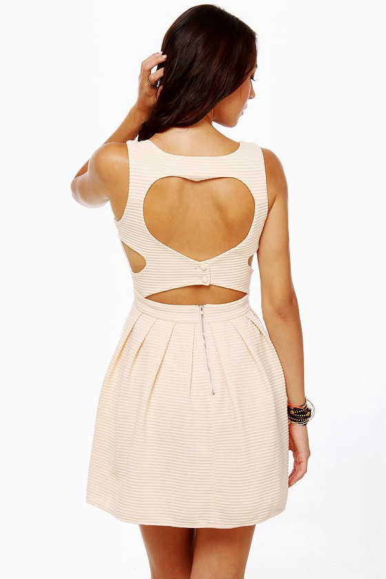 Heartland Cutout Cream Dress at Lulus.com!