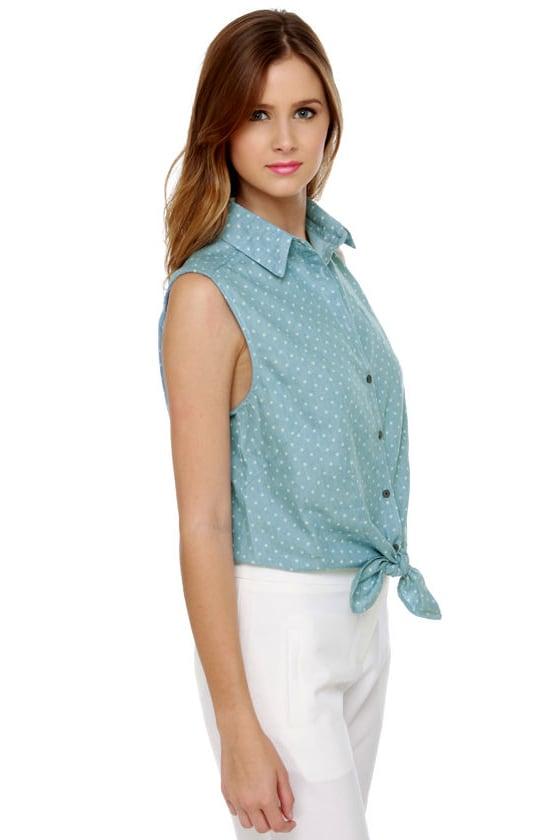 Small Town Girl Polka Dot Denim Shirt