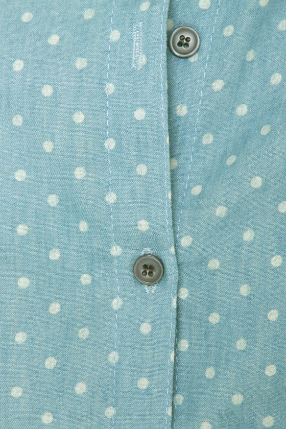 Small Town Girl Polka Dot Denim Shirt at Lulus.com!