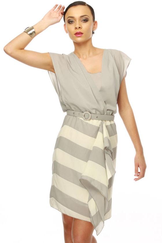City Sidewalks Ivory and Grey Dress