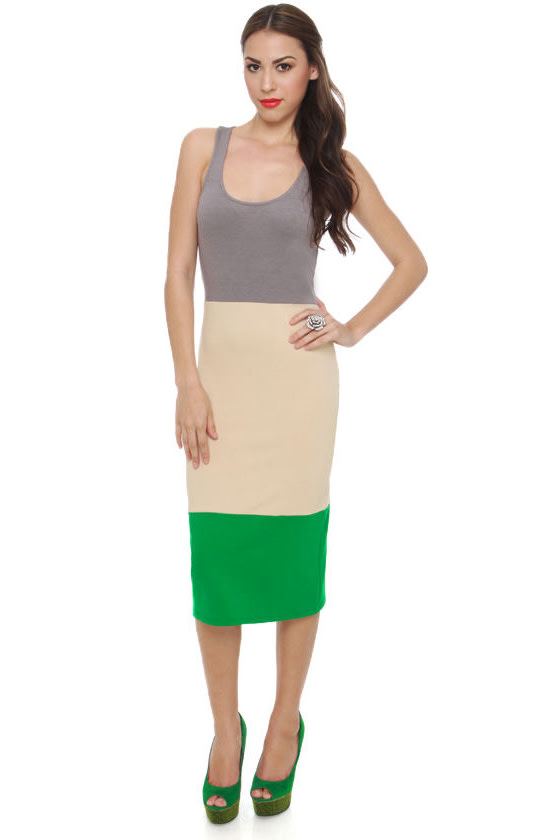 Lucca Couture Grass Roots Green Color Block Dress