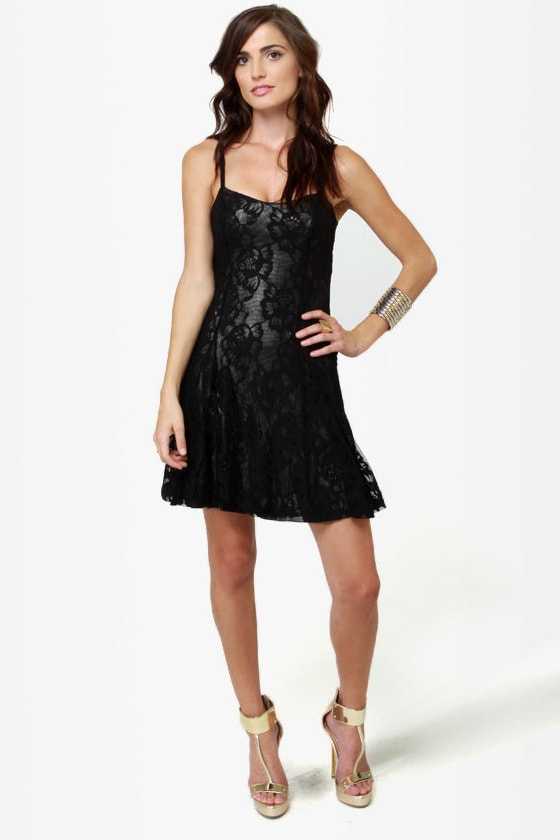 Lucca Couture All\'s Flare Black Lace Dress