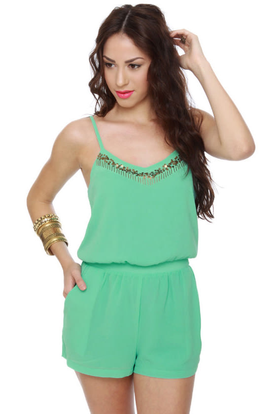 158d5bbe49b Lucca Couture Romper - Mint Green Romper - Beaded Romper -  78.00