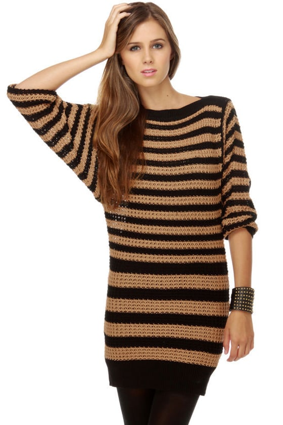 Lucca Couture Stitching Circle Striped Sweater Dress