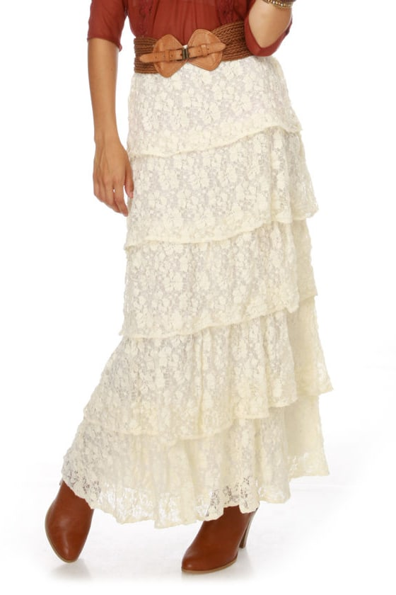 Lucca Couture Mary Kate Cream Lace Maxi Skirt
