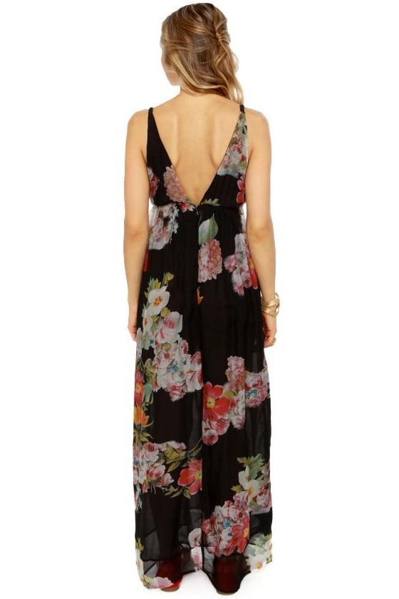 Weather Patterns Black Floral Print Silk Maxi Dress