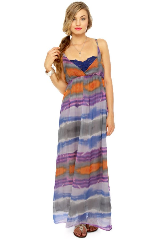 Weather Patterns Purple Print Silk Maxi Dress at Lulus.com!