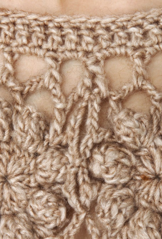 Off The Hook Crocheted Brown Crop Top
