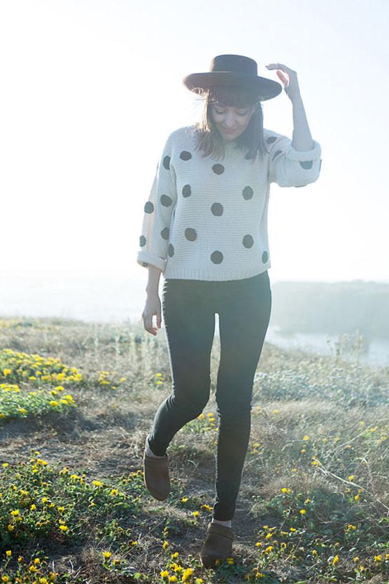 Dots Amore Beige Polka Dot Sweater