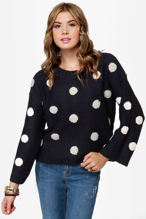 Dots Amore Navy Blue Polka Dot Sweater