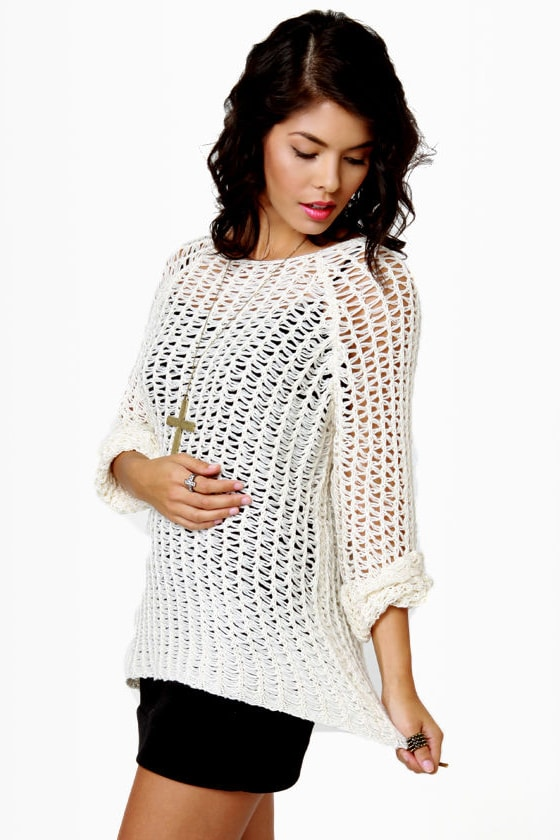Mesh-merize Open-Knit Cream Sweater