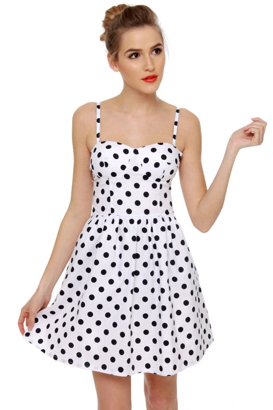 Cute Polka Dot Dress - White Dress - Retro Dress - $32.00