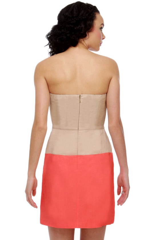 Urban Orchard Color Block Strapless Dress