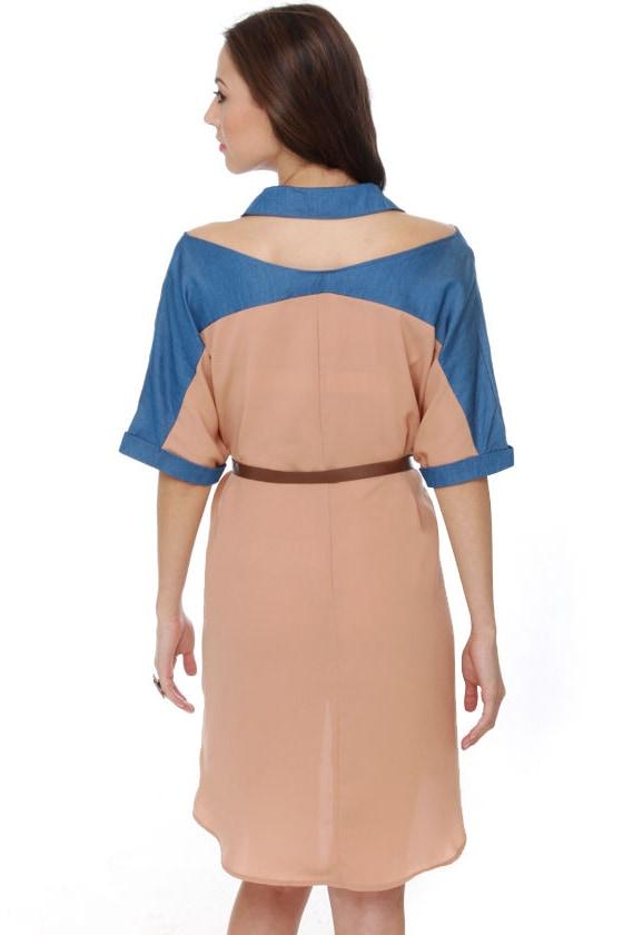 Chambray-kin\' Rules Blush Cutout Dress