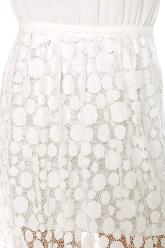 Circle Circle Hot Hot White Lace Maxi Dress at Lulus.com!