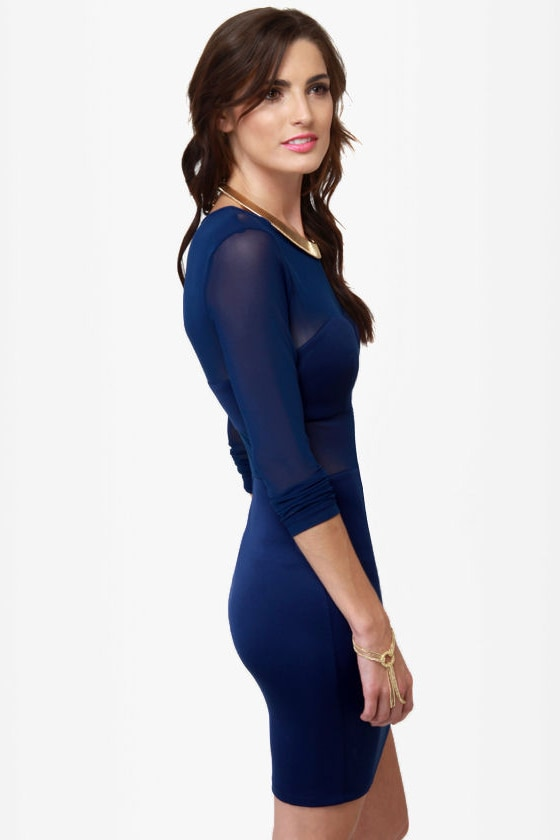 Meshy Business Cutout Blue Dress