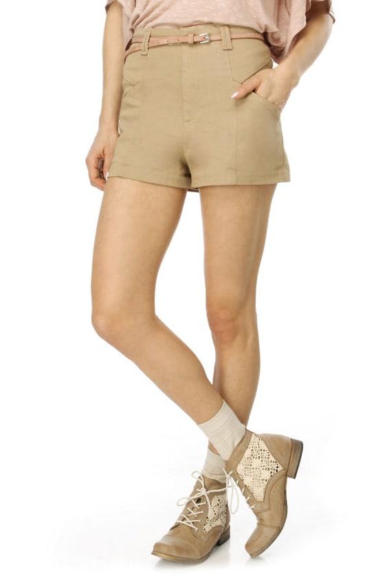 Shoo Be Do Wop High Waisted Khaki Shorts