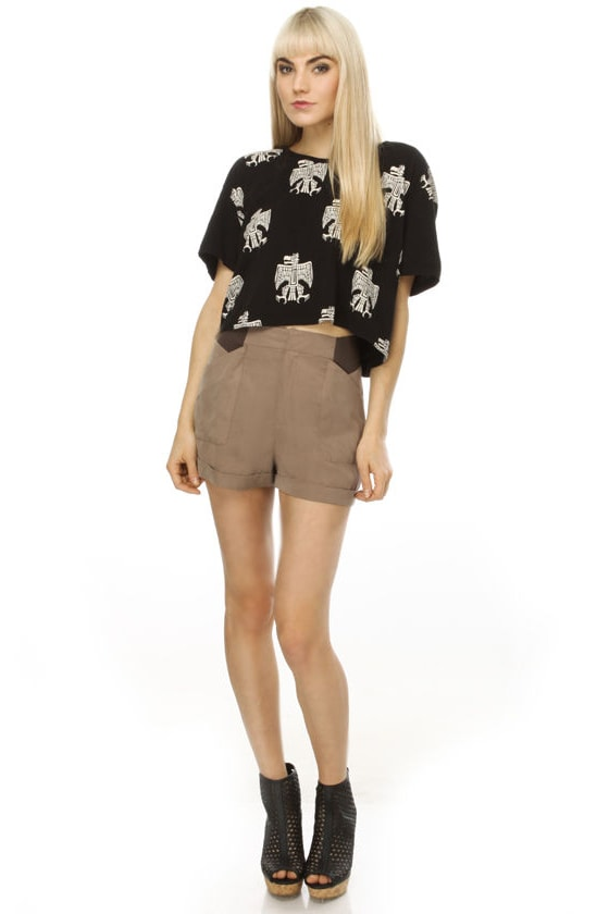 Brownie Points Taupe Shorts