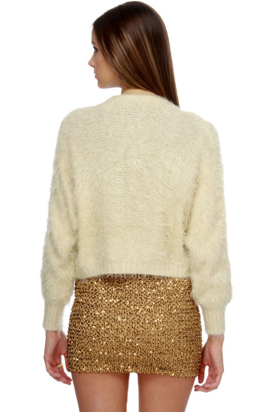 Custard Cream Cropped Sweater