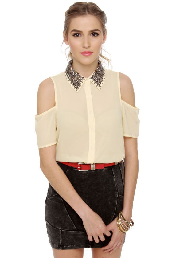 Your True Collars Shine Beaded Cream Top