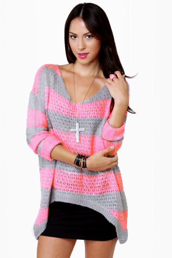 Cute Striped Sweater - Grey Sweater - Neon Pink Sweater - $48.00