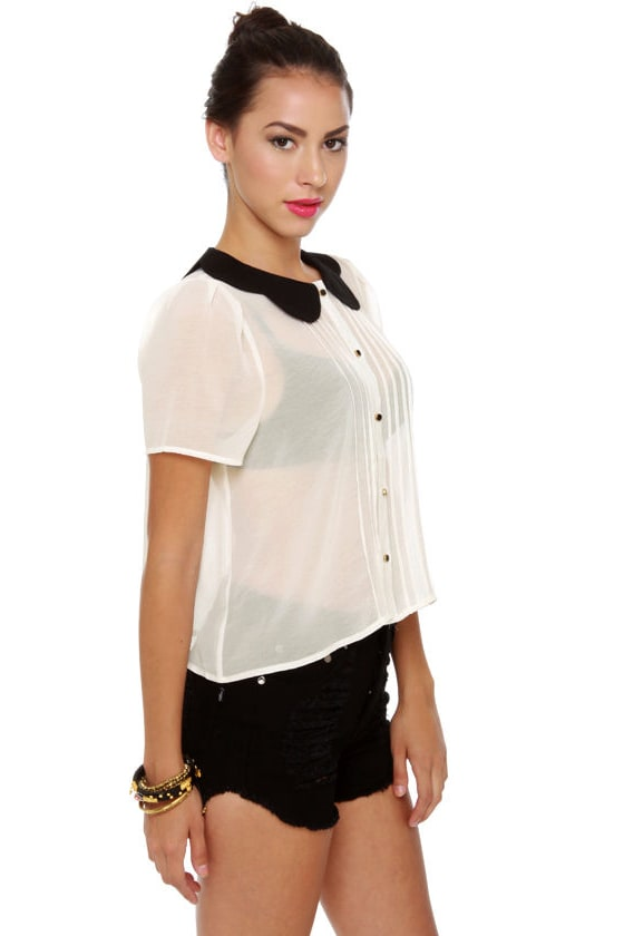 Class Act Sheer Black and White Top