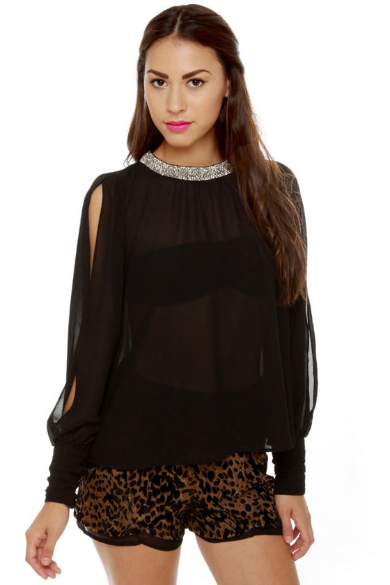 Post Meridian Beaded Black Top at Lulus.com!