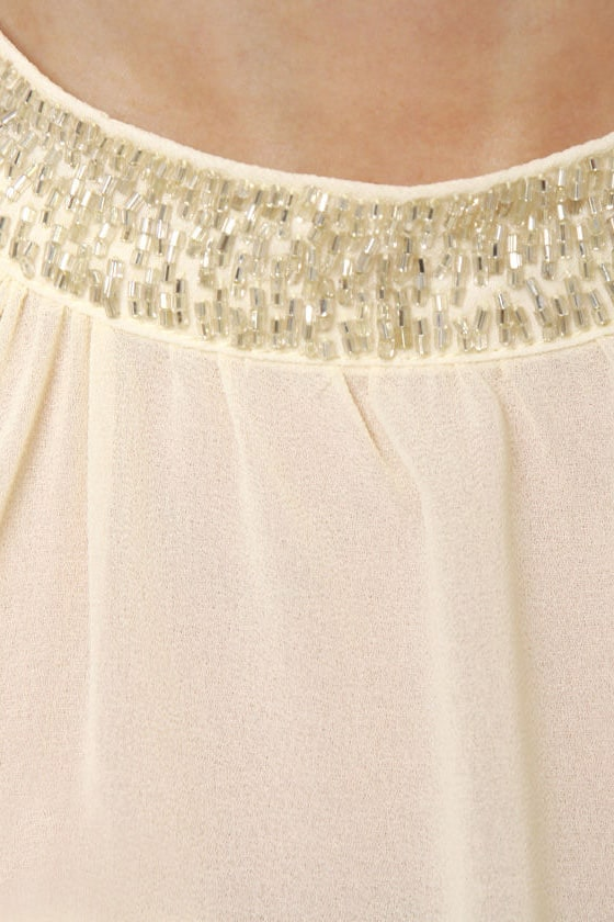 Post Meridian Beaded Cream Top