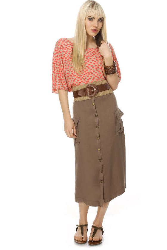 Cargo Khaki Skirt - Midi Skirt - $35.00