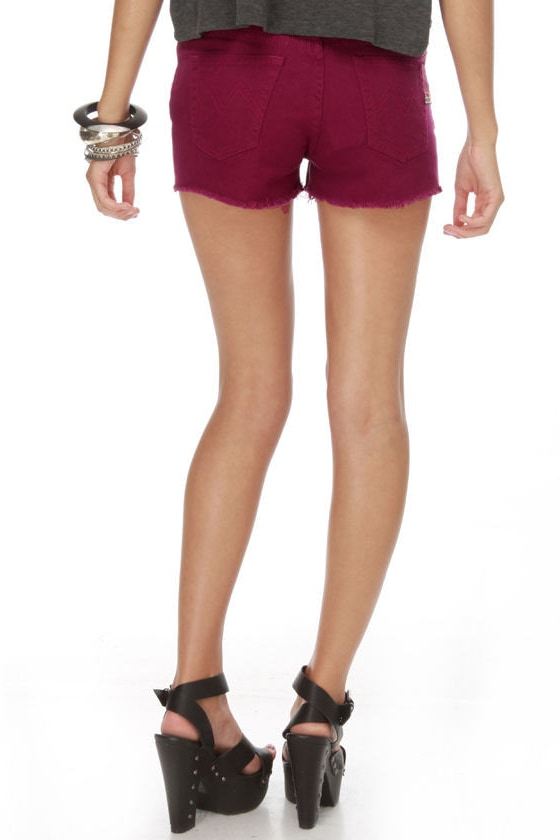Mink Pink Runaway Slashed Maroon Shorts