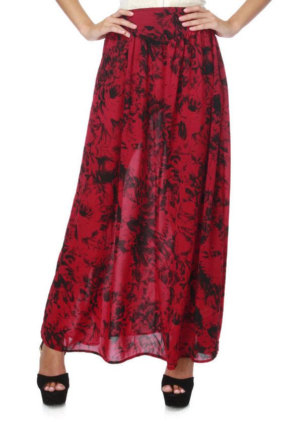 Mink Pink Bad Romance Skirt - Red Skirt - Floral Skirt - Maxi ...