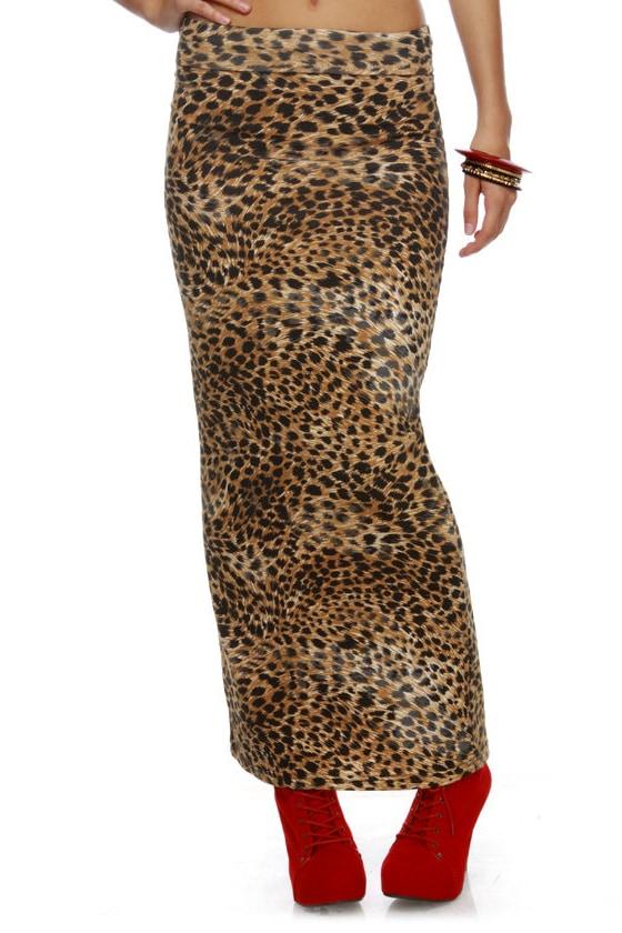Mink Pink Wild Thing Leopard Print Maxi Skirt