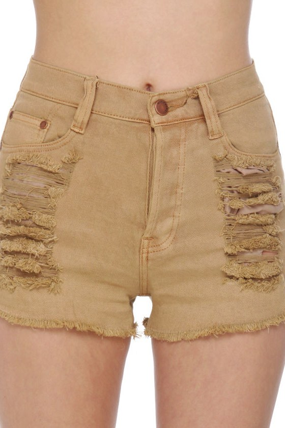 Mink Pink Runaway Slashed Brown Denim Shorts