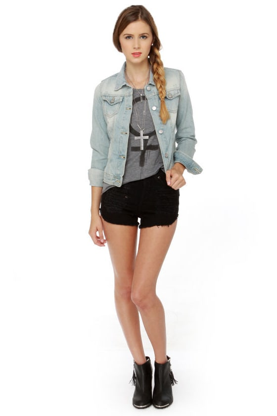 Mink Pink Slasher Flick Black Cutoff Jean Shorts at Lulus.com!