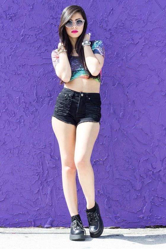 Mink Pink Slasher Flick Black Cutoff Jean Shorts