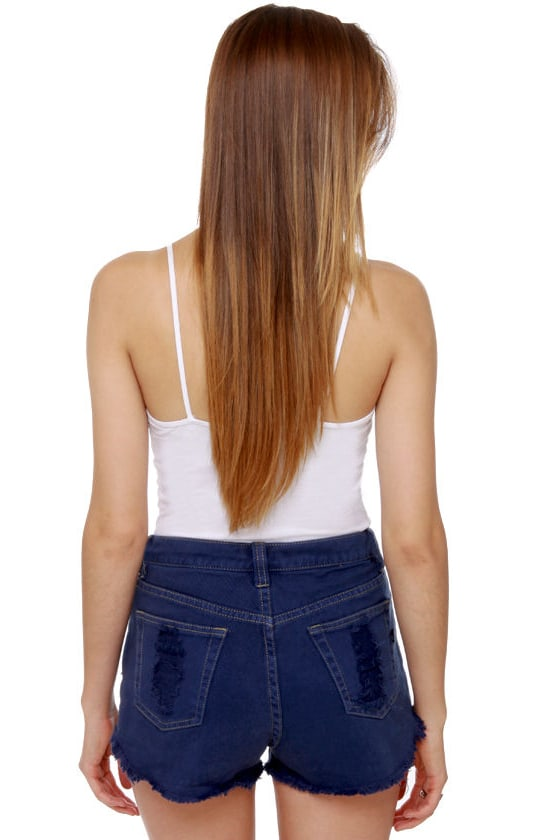 Mink Pink Slasher Flick Dark Blue Cutoff Jean Shorts