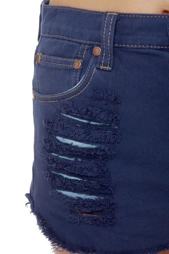 Mink Pink Slasher Flick Dark Blue Cutoff Jean Shorts